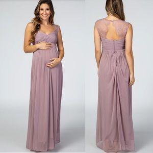 Pinkblush Mauve Lace Open Back Maternity Dress